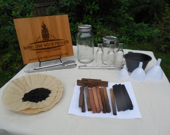 Complete Barrel Char Wood Products liquor and spirits aging and flavoring kit Age your own whiskey, rum or tequila homemade bitters