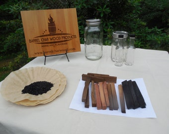 Basic Barrel char Wood products Kit for aging liquor or spirits like whiskey, moonshine, rum, tequila or making flavored vodka