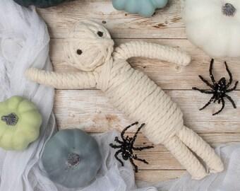 Braided Mummy Rope Dog Toy / Cute Halloween Dog Toy / Durable Dog Toys / Halloween Decor / Halloween Decorations /  Braided Rope Dog Toy