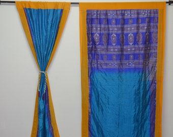 Indian Kantha Quilt Hippy curtain Cotton curtain Indian curtain Boho shower curtain gypsy curtain partition recycled saree vintage sari QC63