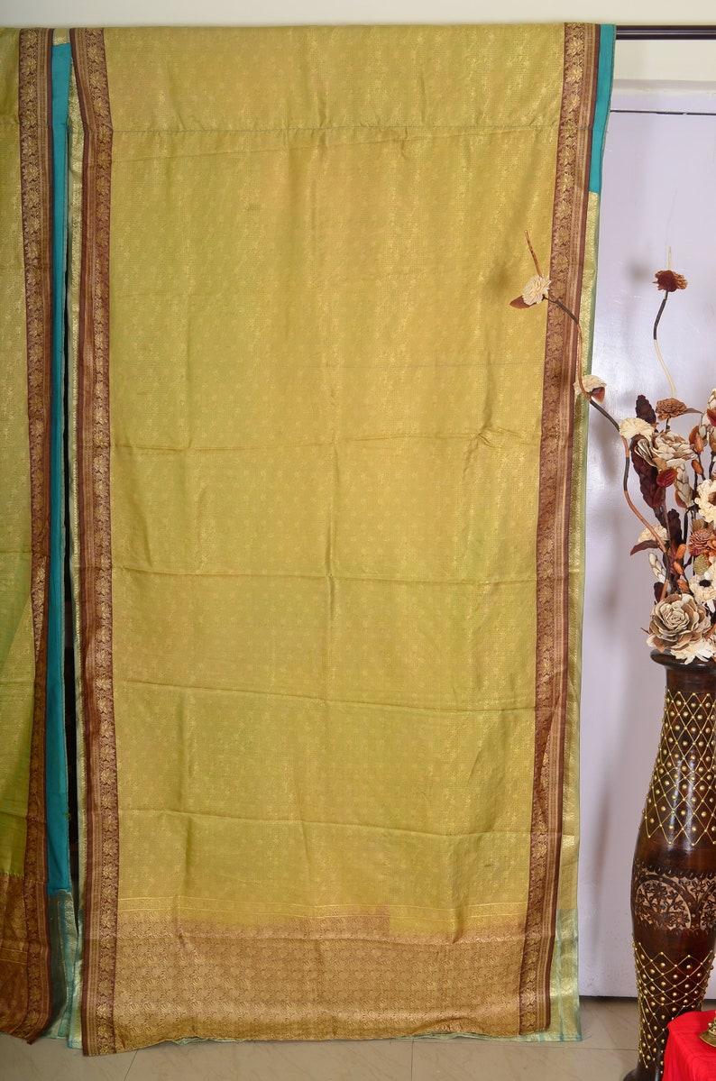 Indian curtain saree Silk curtain sare Boho curtain gypsy curtain hippy bohemian vintage curtain Ethnic wall hanging blue curtain 88 SK128