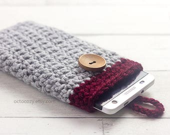 Mobile Phone Case, iPhone Cover, Handmade Crochet Light Grey and Burgundy Red Custom Phone Case Cover, Vegan Pouch
