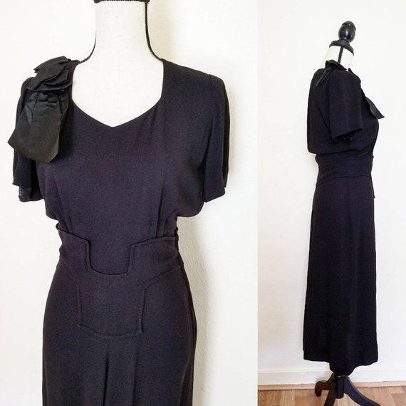 1940s Little Black Dress || Medium