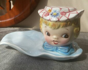 Lefton Miss Dainty Salt Shaker with Spoon Rest