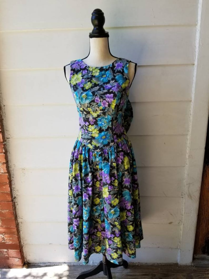 90s Floral Day Dress Oversized Bow All That Jazz