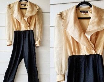 1980s Gold and Black Jumpsuit || Medium