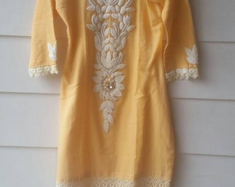 1960s/70s Sunshine Yellow Micro Dress || Sold AS IS || Extra Extra Small