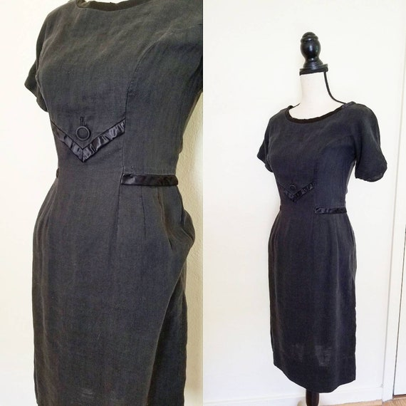 1930s/40s Simple Cotton Black Dress || Small