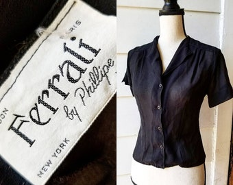 1950s Black Sheer Button Up || Ferrali || Small