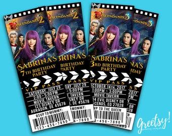 Descendants Invitation Birthday Party Movie Pass Ticket 2 3