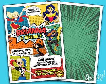 Dc Superhero Girls Invitation Birthday Party DC Printables