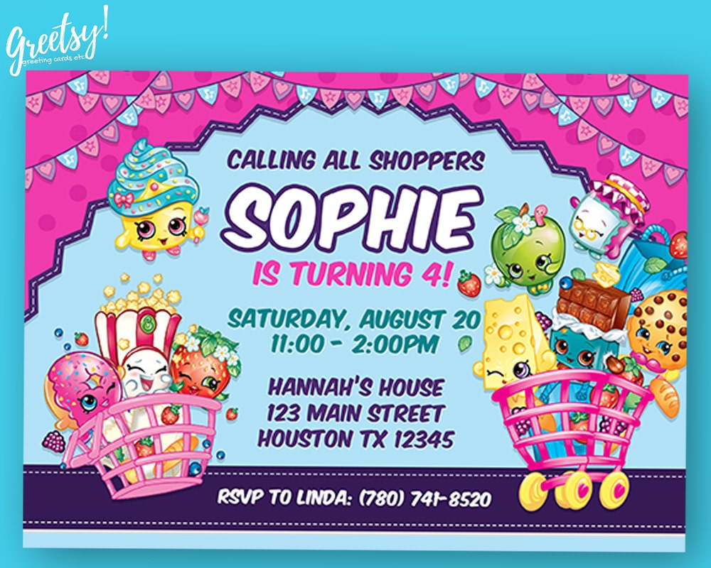 Shopkins Invitation Birthday Party