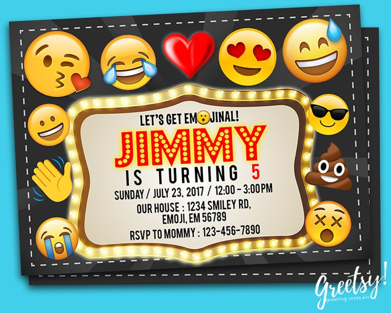 Emoji Invitation Birthday Party Invites Printables Invite Digital Movie