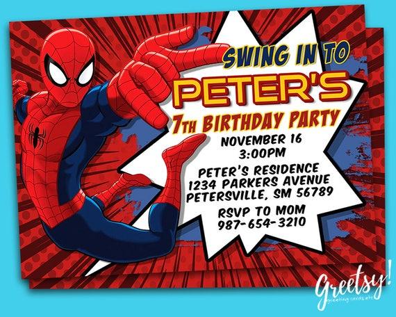 Spiderman Invitation Spiderman Birthday Spiderman Party Etsy