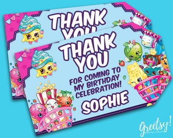 Shopkins Thank You Tags, Shopkins Birthday Favor Tags, Shopkins Party Tags, Shopkins Tags, Shopkins Movie Printable Supplies, Shopkins Label