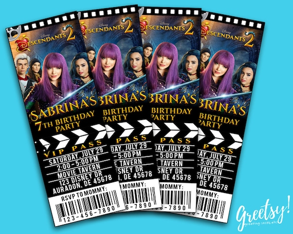 Disney Descendants Ticket Invitations