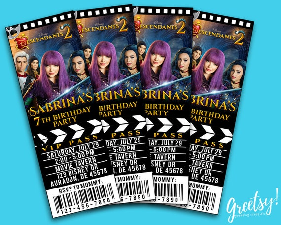 Disney Descendants Pool Party Invitation Ticket Invitations