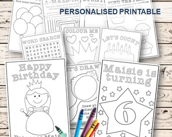 Customised Coloring & Activity Book  (Kids / Girls Birthday Princess Party)  Magical Fairytale Colouring Activity Printable PDF Pages