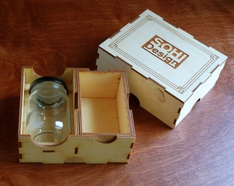 Custom Wooden Stash Box with Jar