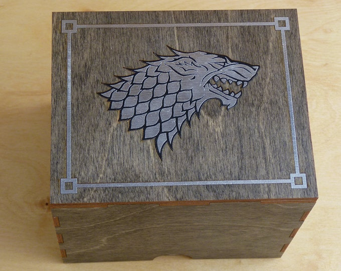 House Stark Direwolf Stash Box with rolling tray