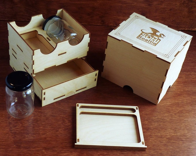 Custom Stash Box with 2 Jars and Rolling Tray