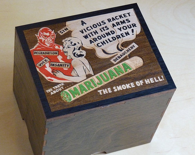 Reefer Madness 2 Jar Stash box with Rolling Tray