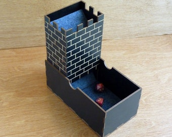 Wooden Castle Travel Dice Rolling Tower and Tray