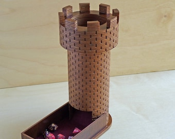 Wooden Castle Dice Tower and Tray