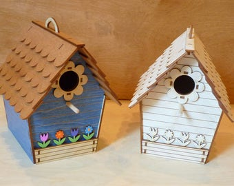 Blue Cottage Birdhouse with colorful flowers