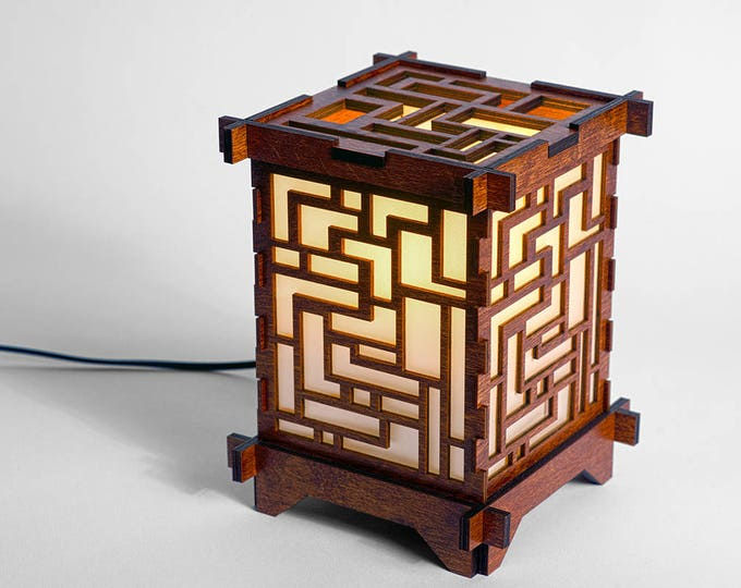 Shoji Wooden Puzzle Lamp