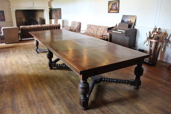 Jacobean Solid Oak Antique Dining Room Table Etsy