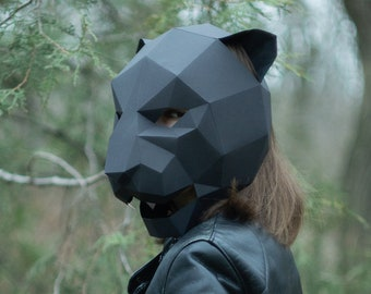 Panther Mask, Cat Mask, DIY 3D mask, Paper Mask, Template Printable, Animal, Pattern mask, Low Poly, Papercraft Mask, Costume, Halloween