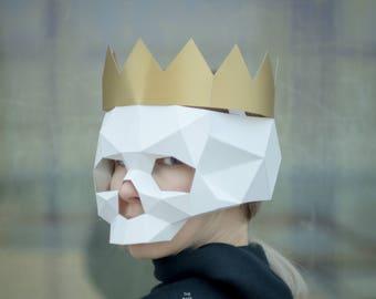 make skull mask3d maskfacepdfpattern maskspolygon diy etsy