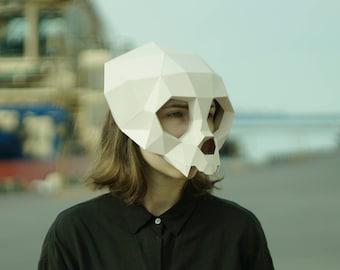 king skull mask3d maskfacepdfpattern maskspolygon diy etsy