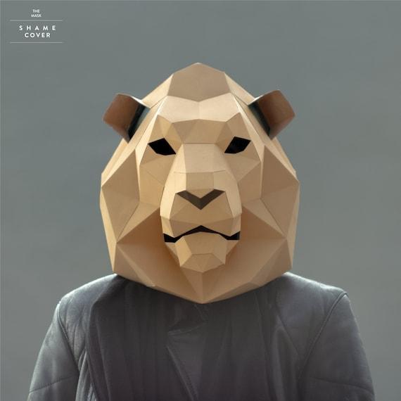 lion maskcat maskdiy 3d maskpdfpolygon paper etsy