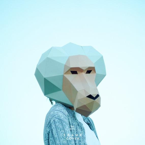 make baboon monkey maskape maskpolygon maskdiy etsy
