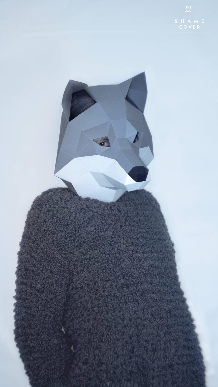 Wolf Maskbalto Dog Maskdiy Animal Headpdfpaper Mask3d Etsy
