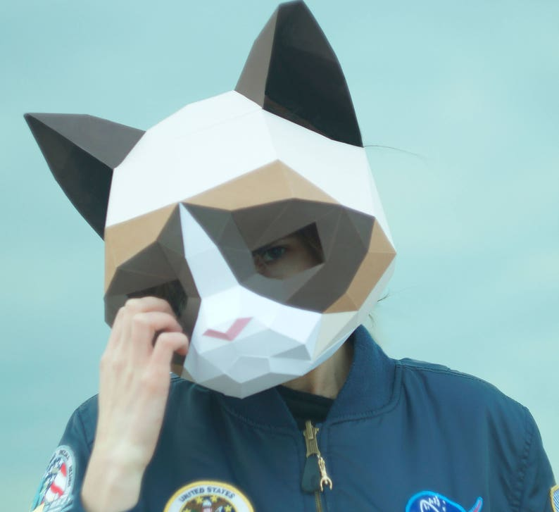 Grumpy Cat Mask,DIY Animal Head,Pdf download,Paper Mask,Helmet,3D Polygon  Masks,Low Poly,Papercraft Face Mask,Template,Printable,Halloween