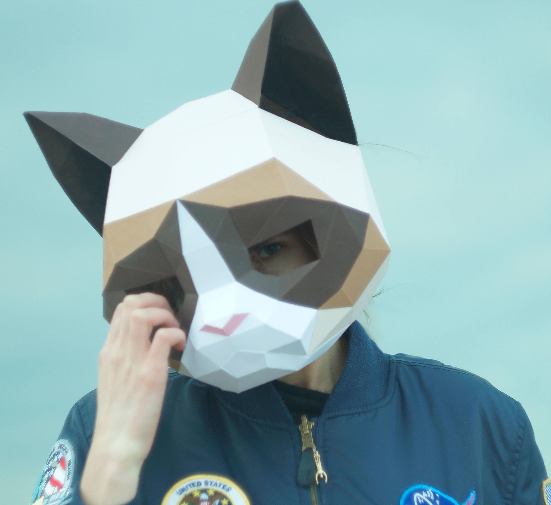 Grumpy Cat MaskDIY Animal HeadPdf DownloadPaper MaskHelmet3D Polygon MasksLow PolyPapercraft Face MaskTemplatePrintableHalloween