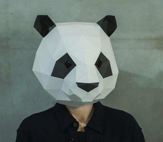 Make Panda MaskDIY 3D MaskPDFPattern MaskPolygon Paper