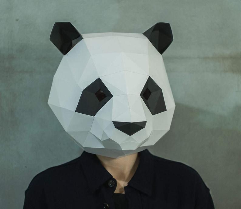 Make Panda Mask,DIY 3D mask,PDF,Pattern mask,Polygon Paper  Mask,Template,Printable Head,Low Poly,Papercraft Face Mask,Costume,Halloween