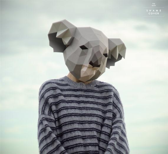 Koala MaskDIY HeadInstant Pdf downloadPolygon maskPaper | Etsy