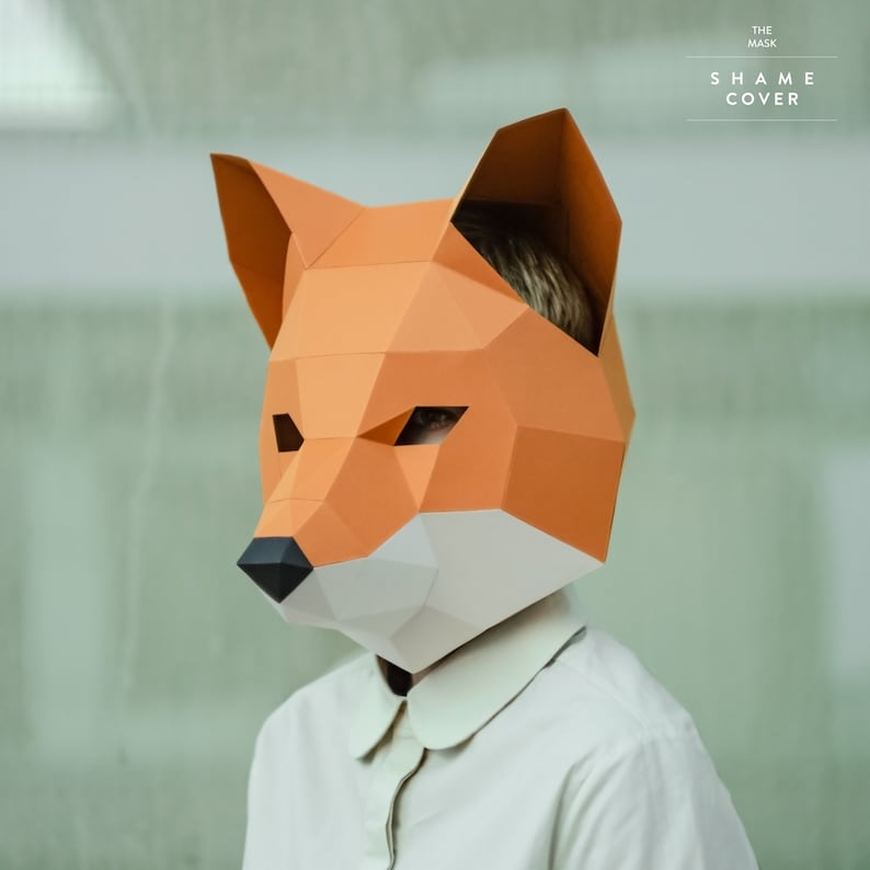 Make Fox Mask,DIY Animal Head,3D Polygon Masks,Instant Pdf download,Paper  Mask,Low Poly,Papercraft Face Mask,Template,Printable,Costume,Gift