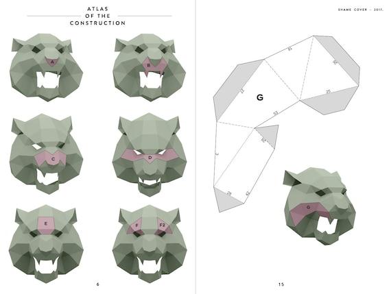 Make Growling Tiger Mask,Polygon Mask,WildCat,DIY Paper,Face Tiger  Mask,Papercraft,Template,Printable Helmet,3D mask,Paper Mask,Halloween