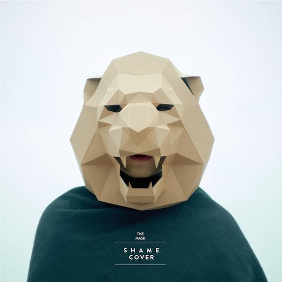 lion maskcat maskdiy 3dmaskpdfpolygon paper etsy