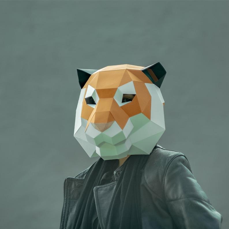 Make Tiger Face Mask,Polygon Mask,PDF,WildCat,DIY Paper,Tiger  Mask,Papercraft,Template,Printable Helmet,3D mask,Paper Mask,Party,Halloween