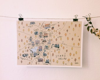 Stars Hollow Map - Gilmore Girls - A4 Poster