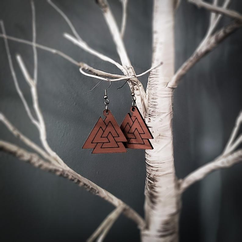 Valknut Earrings Linked Rings Style image 0