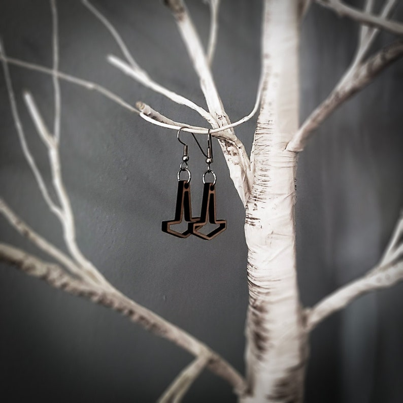 Small Open Thor's Hammer Earrings image 0