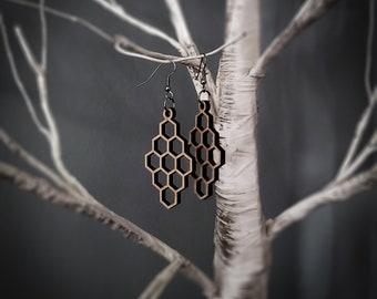 Large Honeycomb Hexagonal Earrings
